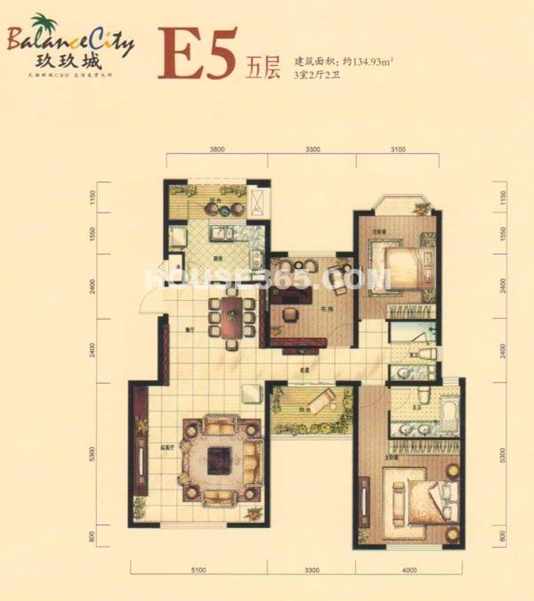 融科·玖玖城E5五层户型