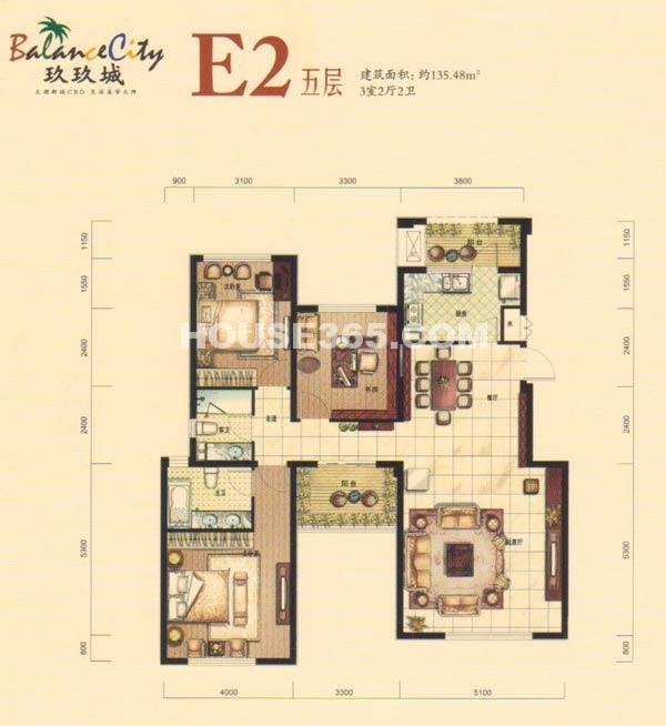 融科·玖玖城E2五层户型