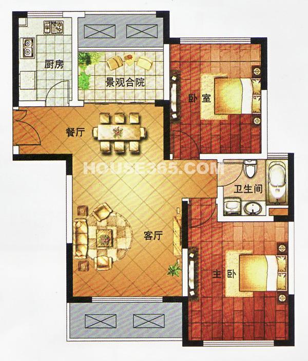 龙泽半岛逸湾4#楼89平米户型图
