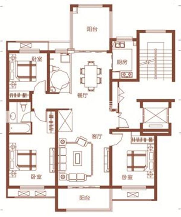 枫林学府D1-2户型 三室两厅两卫 125.13㎡