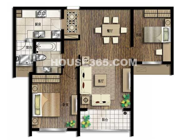 京城豪苑7#华升阁 03单元-两室两厅一厨一卫 105.77平米