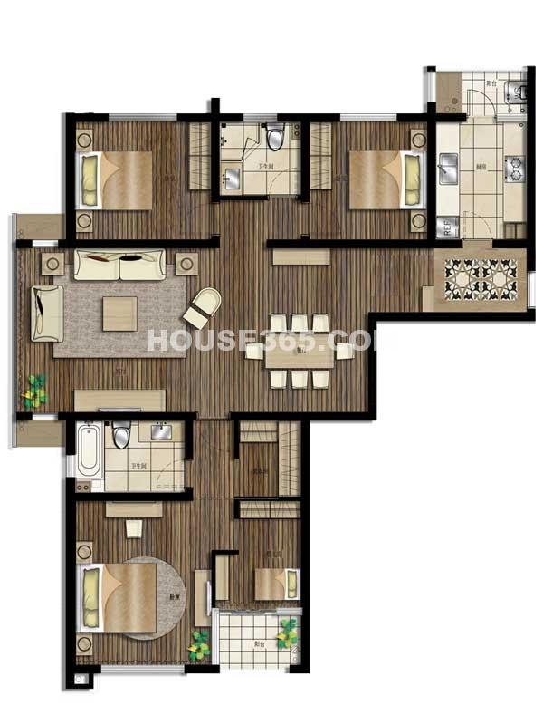 5#楼01及04单元-四室两厅一厨两卫 156.55平米