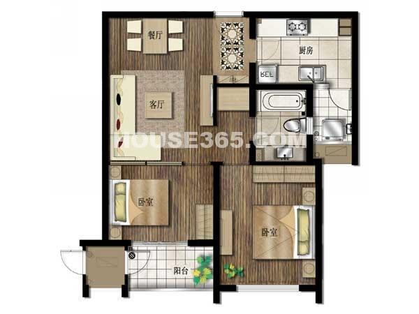 京城豪苑7#华升阁 02及04单元-两室两厅一厨一卫 83.55平米