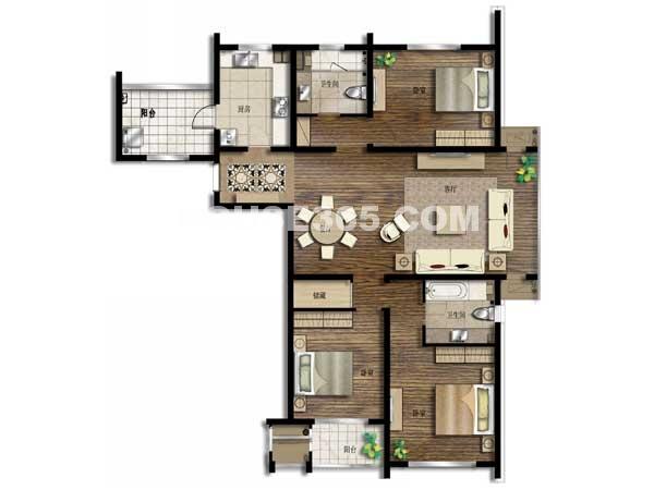 京城豪苑7#华升阁 01及05单元-三室两厅一厨两卫 167.22平米