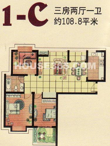 1-C户型,3室2厅1卫,建筑面积约108.8㎡
