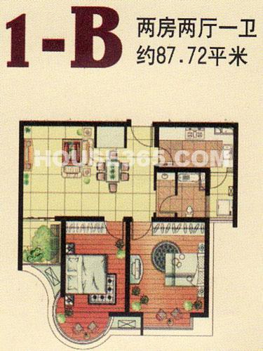1-B户型,2房2厅1卫,建筑面积约87.72㎡