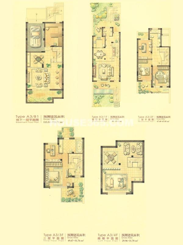 联排别墅A3户型-5室4厅1厨3卫