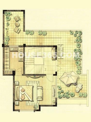 叠加别墅e1户型阁楼平面图