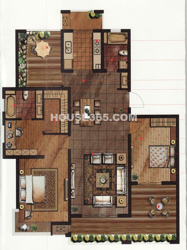 常发豪庭国际格林王座A户型 三房二厅+空中花园 163.20平米