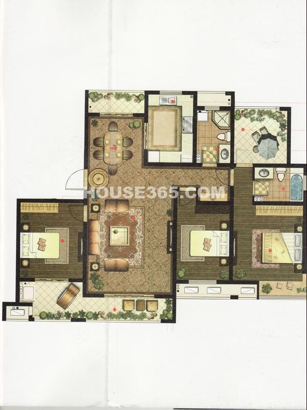 1#楼户型三房两厅