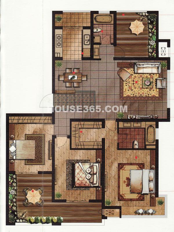 常发豪庭国际格林王座C户型 三房二厅+空中花园 176.34平米