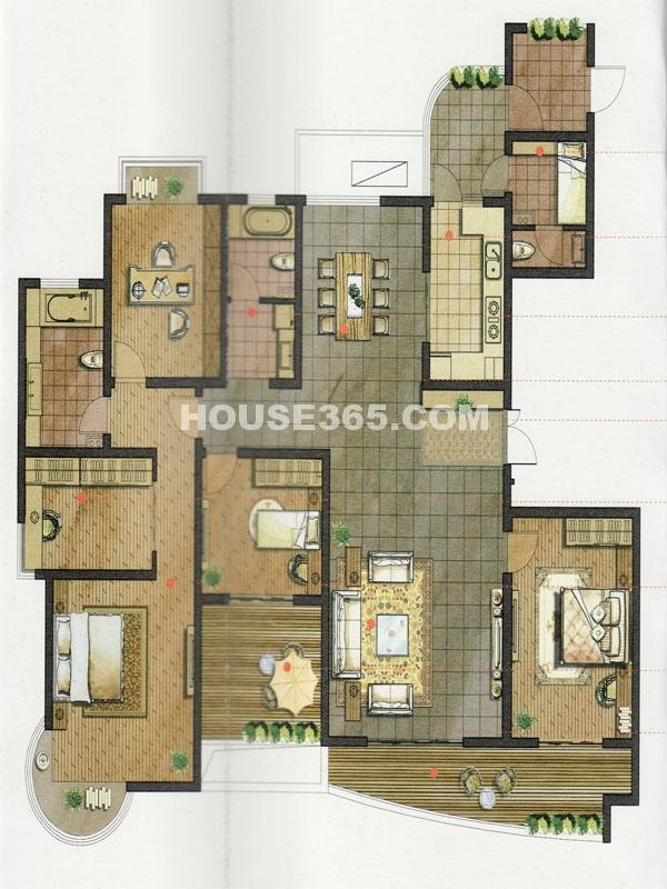 10#楼A户型-五房两厅一厨三卫+空中花园