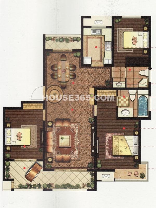12#楼B户型-三房两厅一厨两卫
