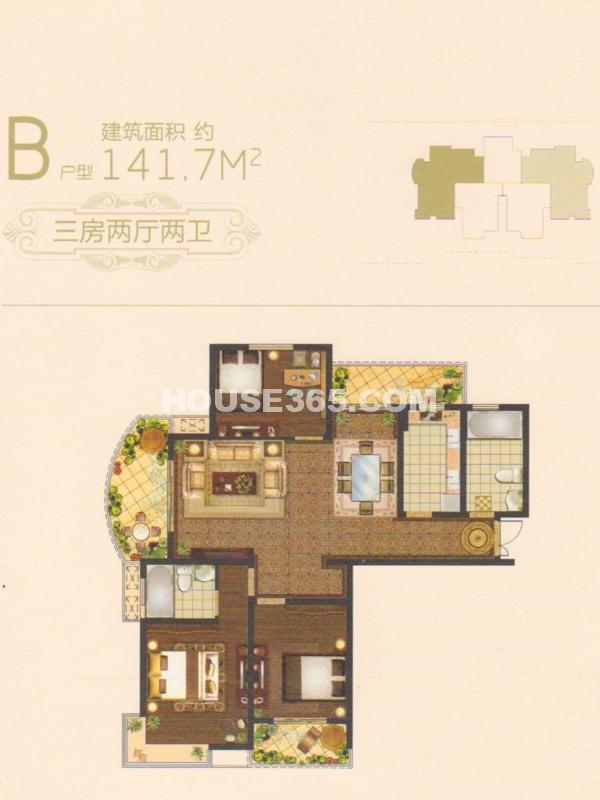 16#楼B户型-三室两厅两卫