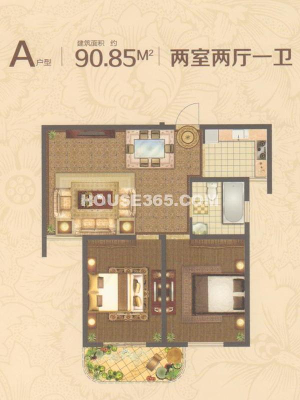 16#楼A户型-两室两厅一卫