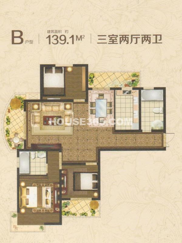 19#楼B户型-三室两厅两卫