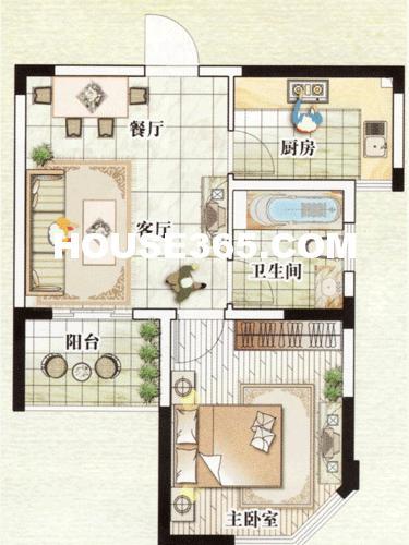 A2户型,一房两厅一卫,约57平米