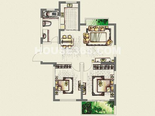 A1户型,二室二厅一卫,约89平米