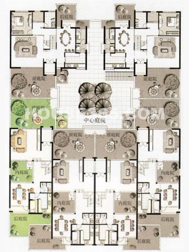 六户围合组团平面图