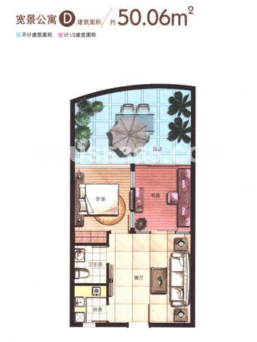 宽景公寓D户型,一室一厅一厨一卫,50.06平米