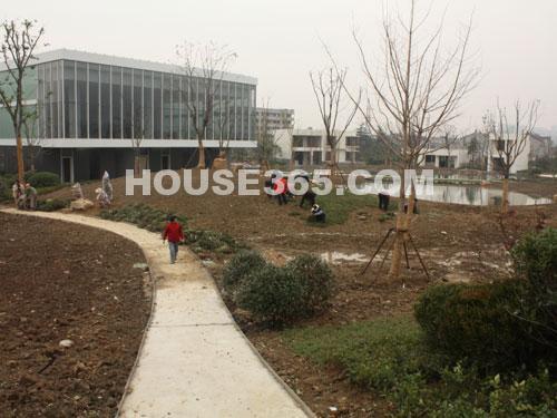 华润国际社区12月最新进展:场外绿化施工中