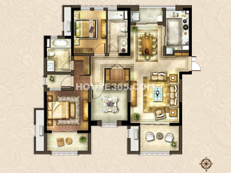 24#楼B-3户型-三房两厅两卫