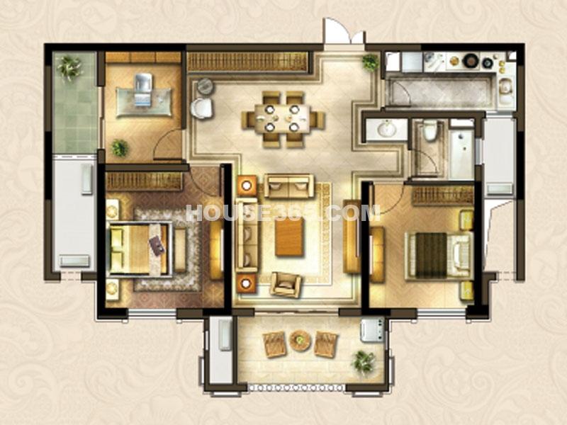 24#楼B-2户型-三房两厅一卫