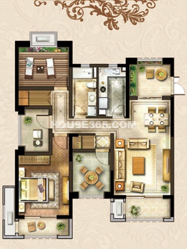 24#楼A-1户型-三房两厅一卫