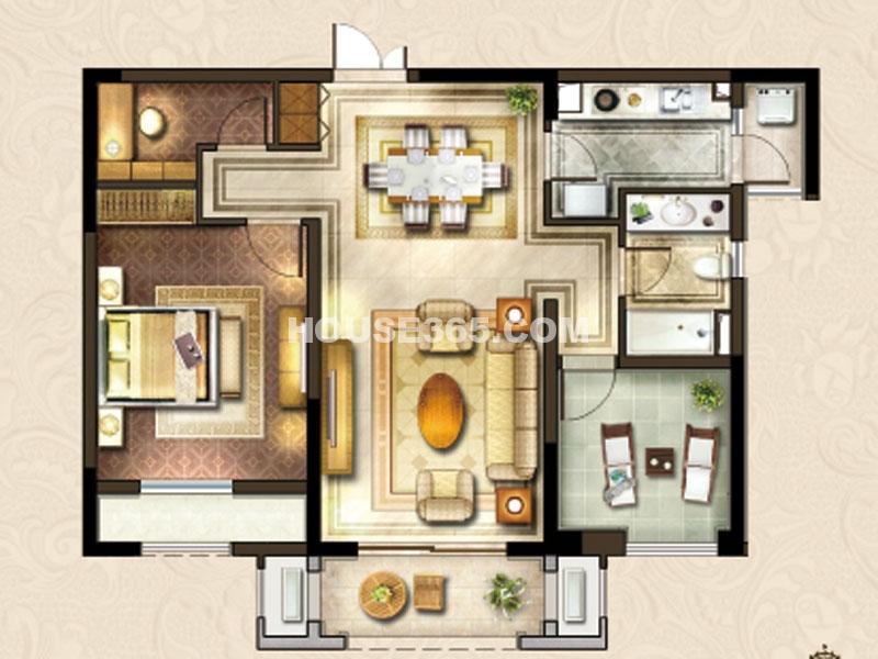 24#楼A-2户型-两房两厅一卫