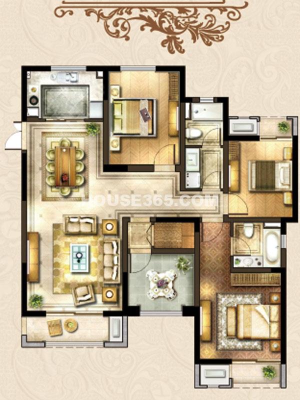 24#楼A-3户型-四房两厅两卫
