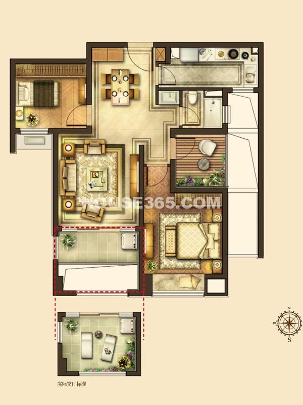 华润湾公园B户型 2室2厅1卫