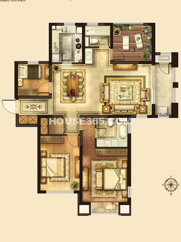 华润湾公园D户型 3室2厅2卫