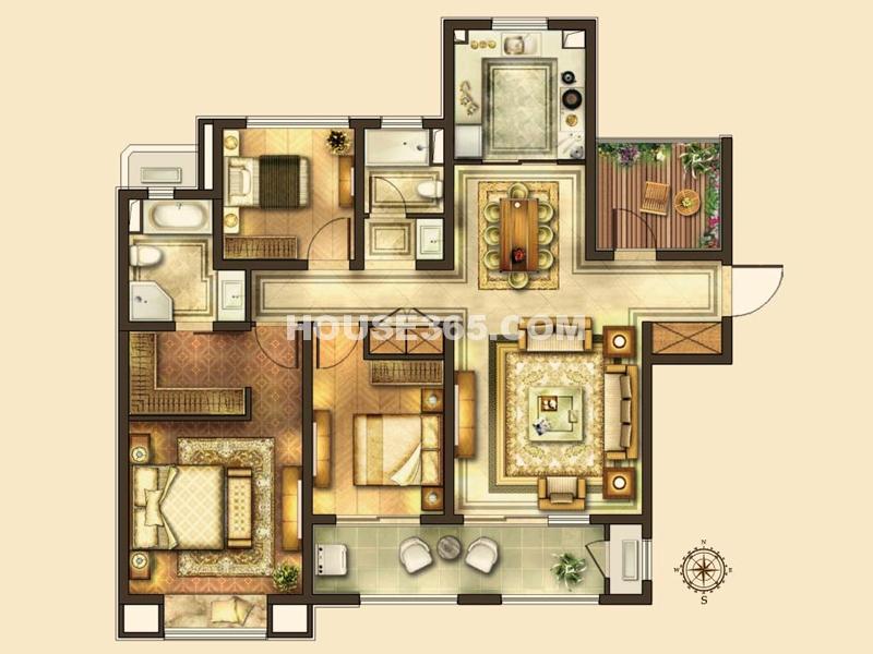 华润湾公园C户型 3室2厅2卫