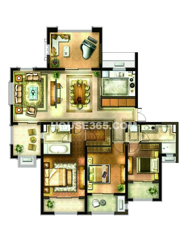 18#楼 3房3厅1厨2卫 191平