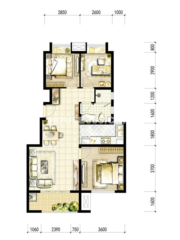 A地块C户型 2室2厅1厨1卫+书房