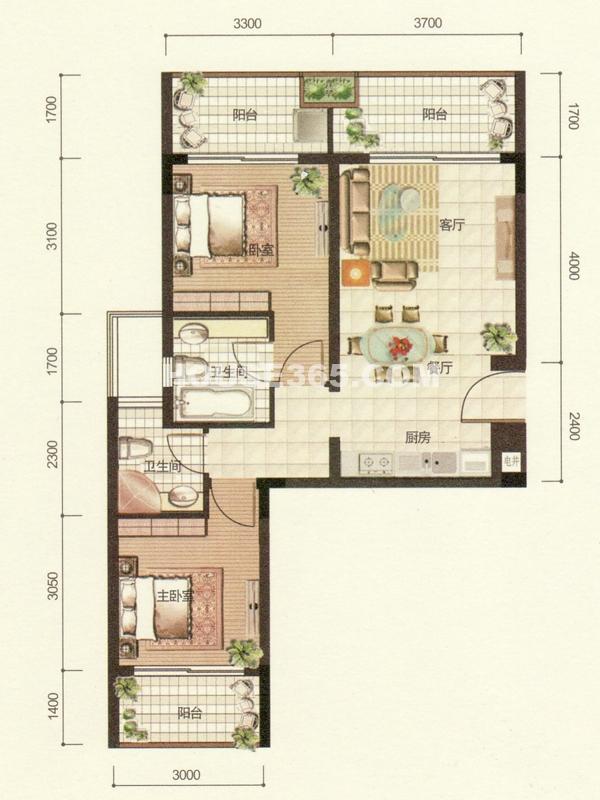 逸居两房两厅一厨两卫
