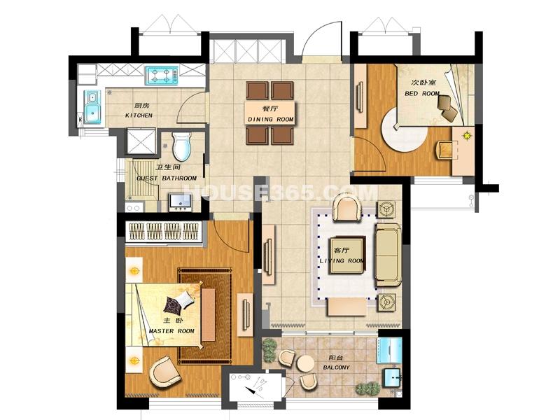 A-1户型-两房两厅一卫