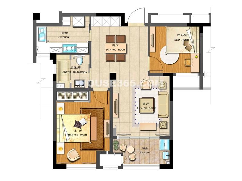 A-2户型-两室两厅一卫