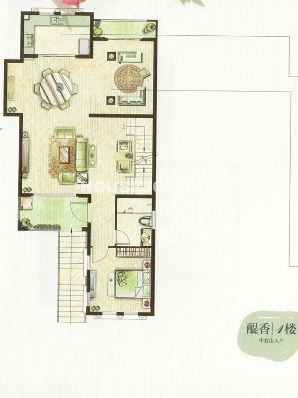 C户型醍香1楼一室两厅一厨一卫(总户型面积338㎡)