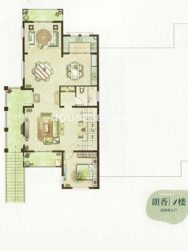 A户型朗香1楼一室三厅一厨一卫(总户型面积385㎡)