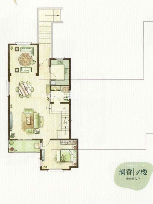 B户型澜香1楼一室一厅一厨一卫(总户型面积338㎡)