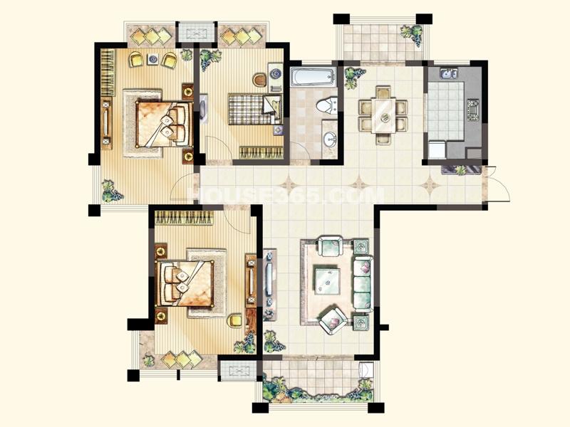 A1户型(4#东西户)-三室两厅一卫136.09/136.99/138.01平米