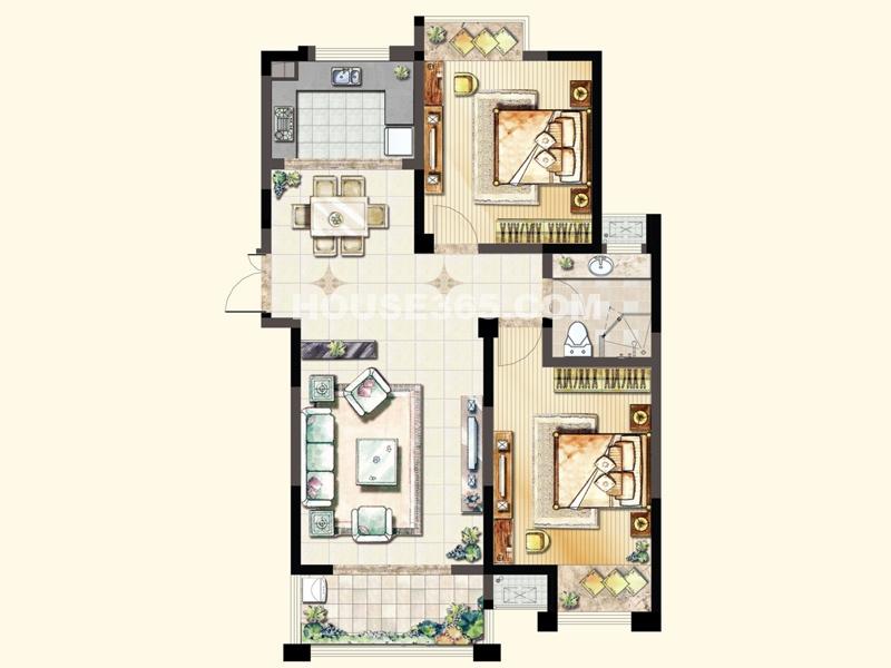 C1户型(4#)-两室两厅一卫97.52平米