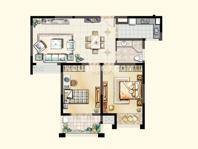 B1户型(2#、4#)-两室两厅一卫92.69/94.81平米