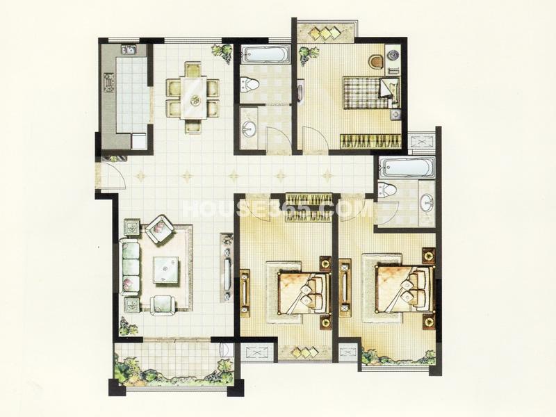 D户型(2#)-三室两厅两卫151.25平米