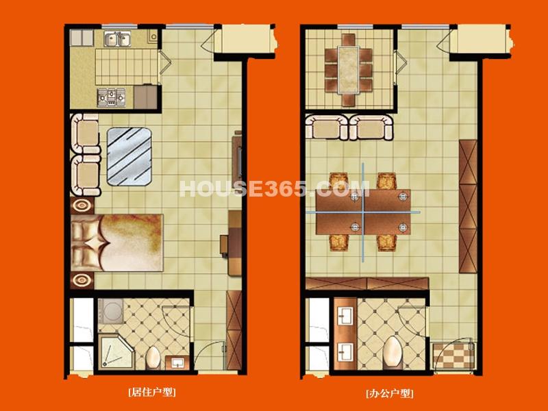 公寓a户型 一室一厅一厨一卫