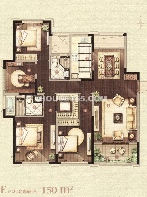E户型-四室两厅两卫
