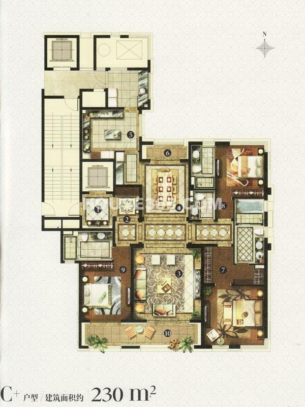C+户型-三室两厅四卫