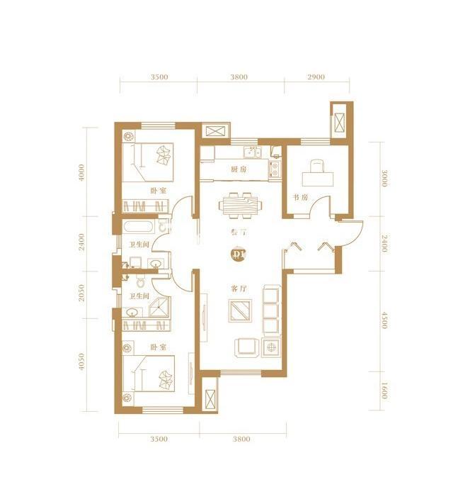 D1户型 3室2厅2卫 127.52㎡