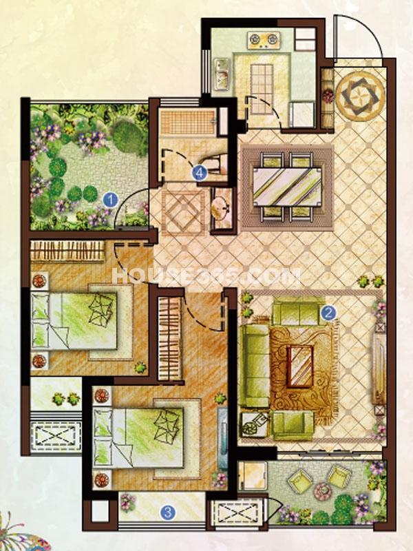 高层 2房2厅1卫 88㎡